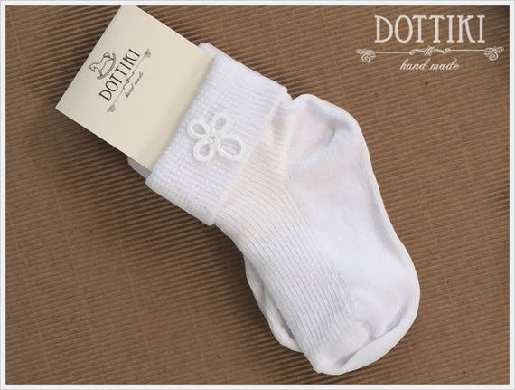 Baby Baptism Socks in Ivory  Cotton Toddler Socks with Cross
