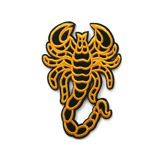 Yellow scorpion embroidered applique iron on patch 6. 5 cm. X | etsy.