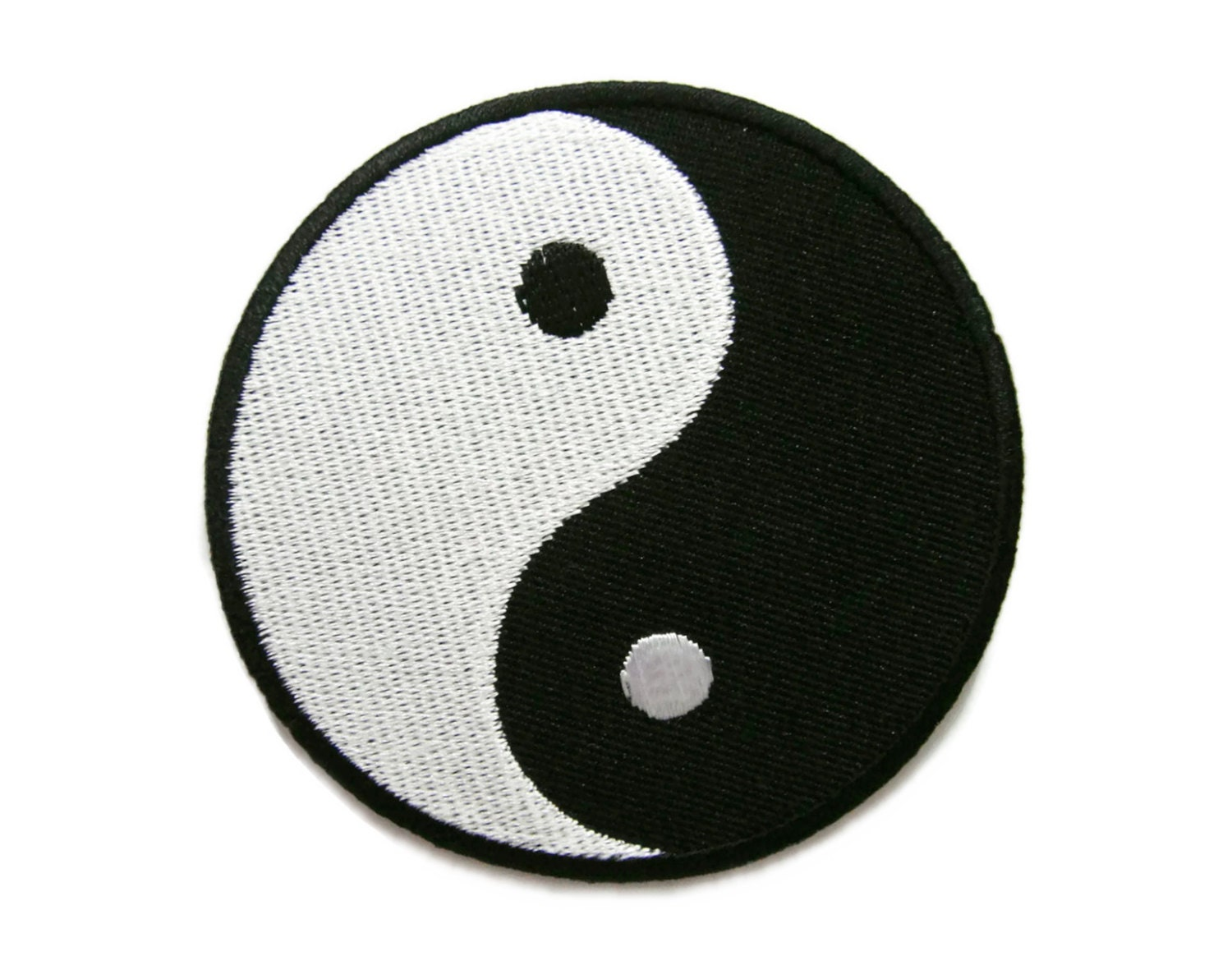 Black White Yin Yang Peace Sign Symbol Embroidered Applique Etsy