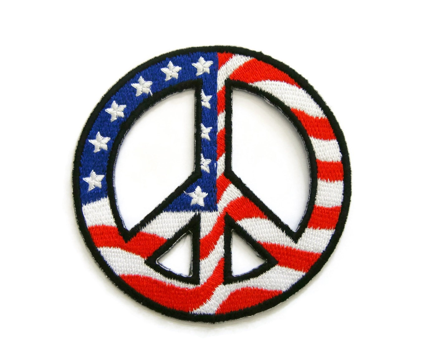 Peace Sign Symbol Usa Flag Embroidered Applique Iron On Patch Etsy