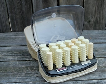 General Electric Hairsetter, Hot rollers with traveling case, vintage hair curlers