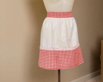 6c35db11cedd Vintage Half Apron, Red and white gingham, red and white checked half apron