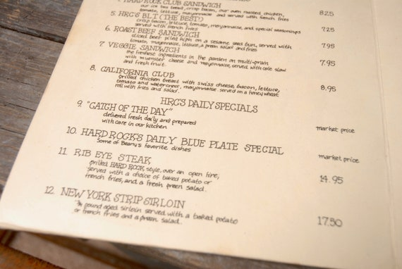 Hard Rock Cafe menu, New York Menu, Hard Rock