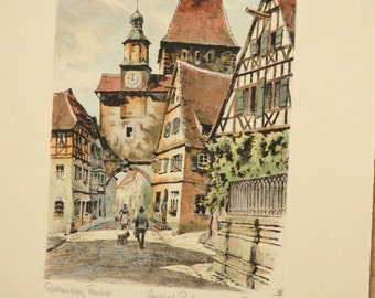 Rothenburg Tauber Germany Hand colored etching