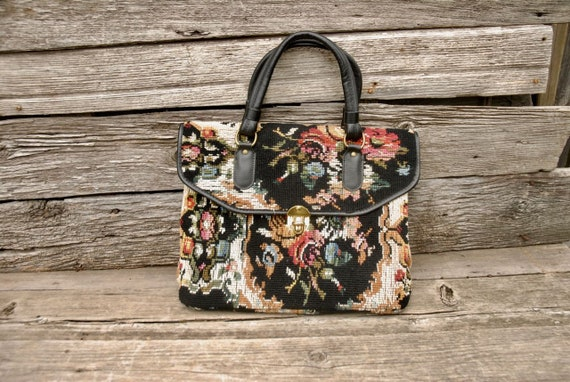 Tapestry purse, Jaclyn USA Bag, Vintage tapestry b