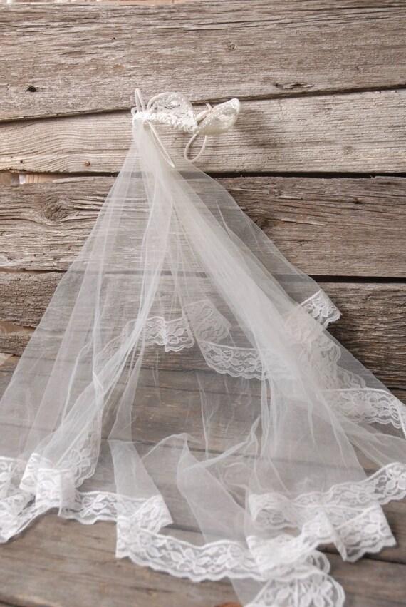 vintage 1950s pearl crown wedding veil, vintage b… - image 8