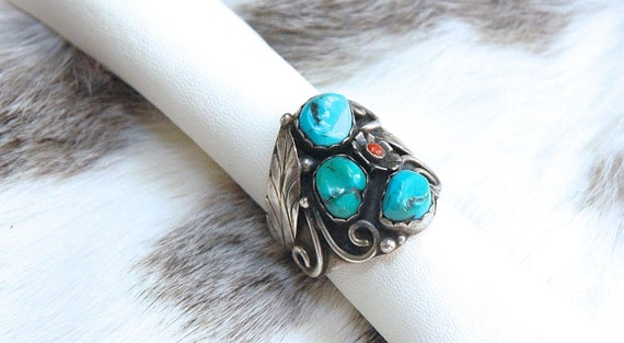 Sterling Silver turquoise ring, turquoise coral ri