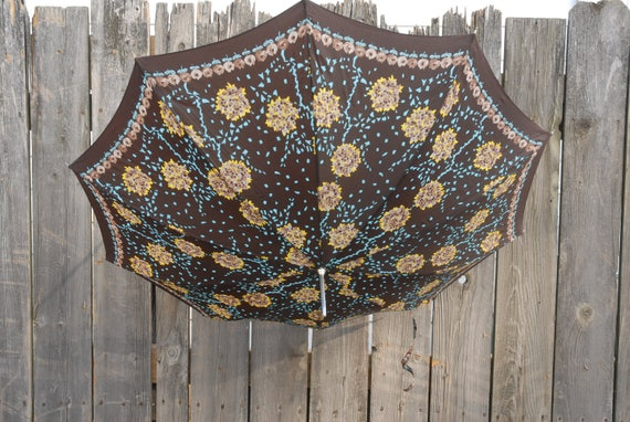 Vintage umbrella, Hydrangea umbrella, Brown turquo
