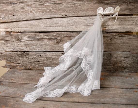 vintage 1950s pearl crown wedding veil, vintage b… - image 1