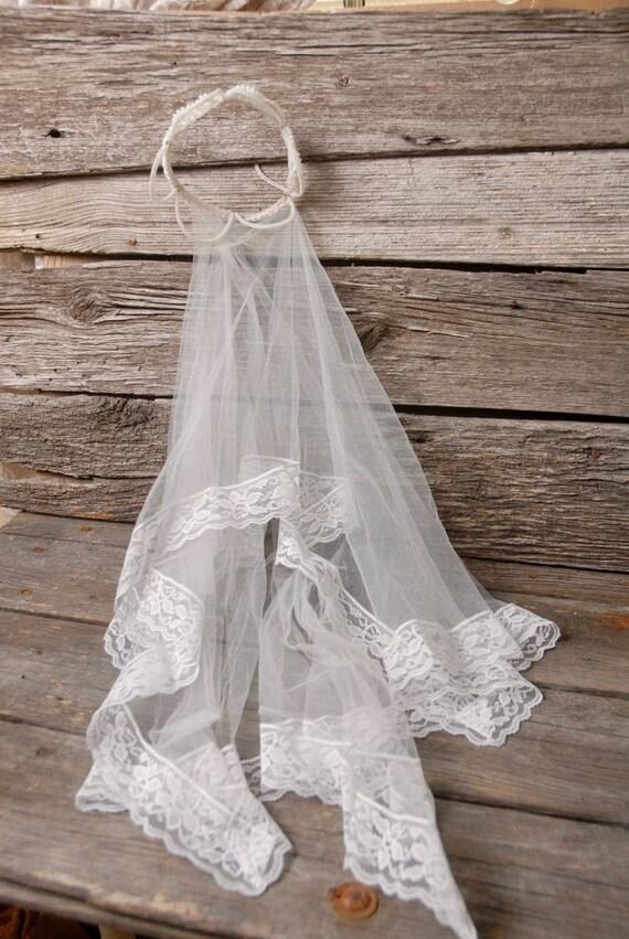 vintage 1950s pearl crown wedding veil, vintage b… - image 7