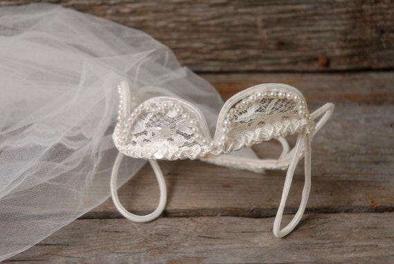 vintage 1950s pearl crown wedding veil, vintage b… - image 4