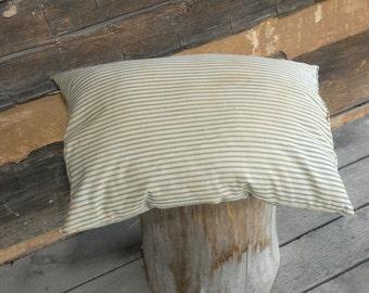 Vintage Feather Pillow, Blue Ticking Pillows