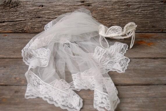 vintage 1950s pearl crown wedding veil, vintage b… - image 2
