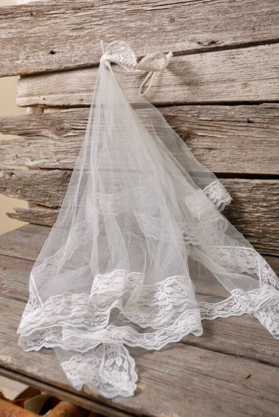 vintage 1950s pearl crown wedding veil, vintage b… - image 5