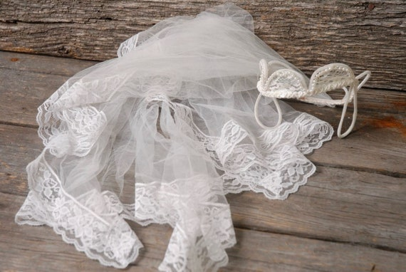 vintage 1950s pearl crown wedding veil, vintage b… - image 6