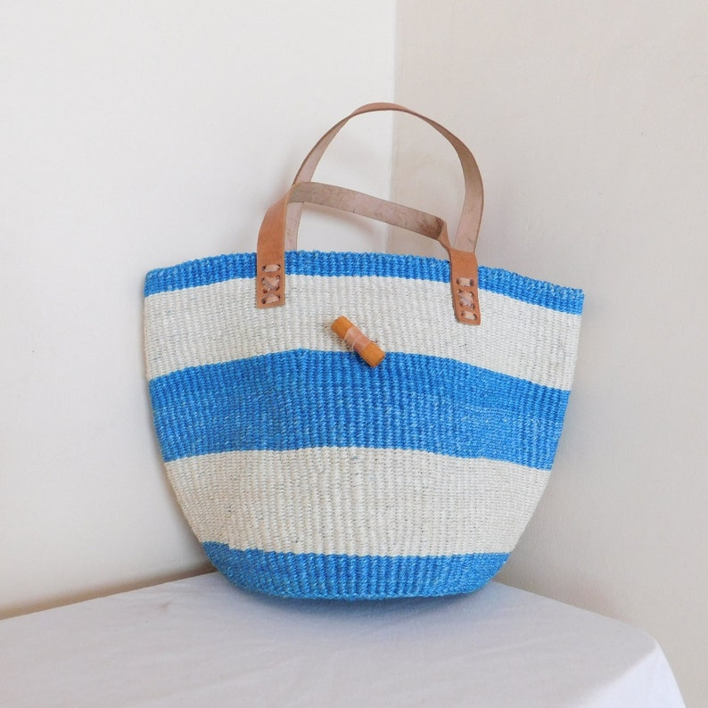 Hand Woven White and Blue striped Sisal Tote Bag for Women.