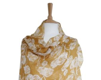 Tulip Print Scarfs/Beige Yellow Scarves/Summer Sale Scarves/Wraps&Scarves/Shawls/NeckWrap/Rebozo Tutu Cloak/Stole Muffler Cape/Women's Gift