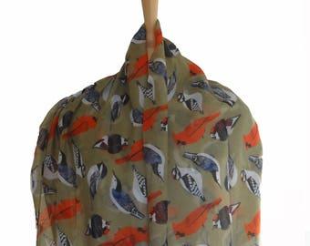 Animal Print Scarves/Bird Print Scarf/Summer Sale Scarf/Olive Green/Shawls/Evening Shawl/Wraps Wrap/Cloak/Rebozo/Muffler/SpringSummer/Rebozo