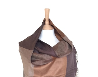 Scarves In Checkered,Fringed Scarf Neck Wraps,Coffee Beige Scarfs,,Soft touch Rebozo,Cloak,Cape,Shawls,Shawl,Accessory,Stole,Neckerchief