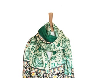 Green Indian Painting Scarf/Off-White Scarf/BlackRed Scarves/Scarves&Wraps/Shawls And Wraps Wrap/Rebozo/SarongSpring Summer Scarf/Pareo/Cape