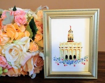 Nauvoo Illinois Watercolor Temple, LDS Temple Print