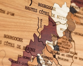 Wine map, BOURGOGNE wines, natural wood, MARQUETERY, gift idea, interior decoration, made in FRANCE