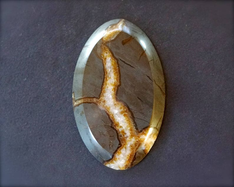 Natural Septarian Geode cabochon Septarian nodule slice polished 65x40x7mm Huge Sea Fossil Septaria oval cabochon