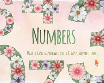 Watercolor Numbers, Flowers, Leaves, Handpainted, PNG.