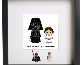 like father like daughter lego 3d frame star wars gift Darth Vader Princess Leia dad daddy