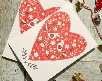Folk Heart Christmas Card