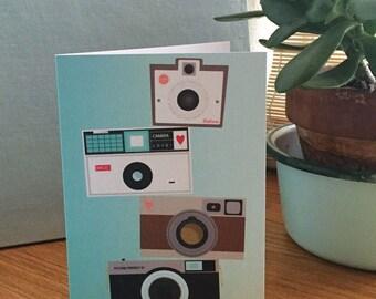 Retro Camera Stack greeting card