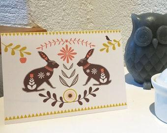 Folk Hares Greeting Card