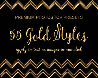 55 Gold Styles,  Photoshop Styles, ASL FX Photoshop Text Effects, Gold Foil Effect, Gold Stamp, Embossed Gold, Gold Highlights, Real Gold FX