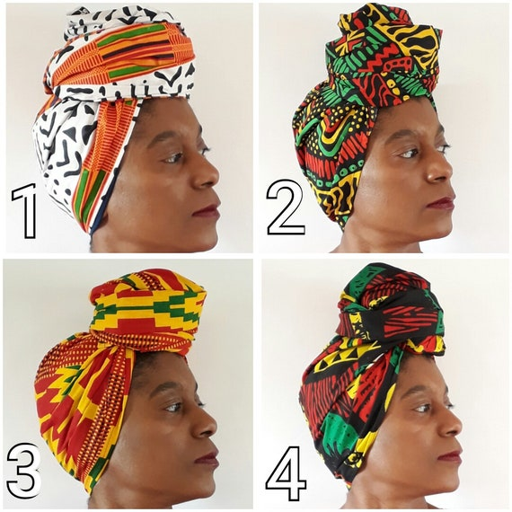 AFRICAN HEAD WRAP KENTE PRINT FABRIC SCARF TIE UP