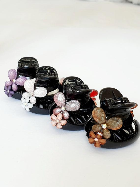paquet à la mode et attrayant nouveau produit 2019 authentique Petite taille ronde forme griffe pince à cheveux en plastique acrylique  noir bijoux griffe mâchoire