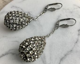 Dangling Dreams, vintage assemblage earrings, rhinestones, teardrops, silver tone