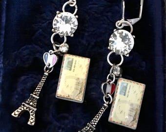Post Cards from Paris, vintage inspired earrings, France, Eiffel Tower, rhinestones, souvenir