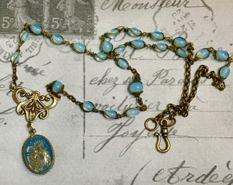 Anne & Mary, vintage assemblage necklace, religious, antique mercury glass medal, rosary