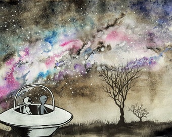 Stargazing BFFs - Astronaut and Alien Space Painting Photo Print