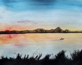 Afterglow - Photo Print of a watercolor painting of a boat on a lake at sunset
