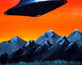 """Visitor - A 3.75""""x 7.5"""" vinyl bumper sticker of a UFO painting"""