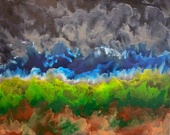 Incoming Storm - Photo Print of a Melted Crayon Painting