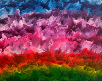 Stratified Sunset - Photo Print of a Melted Crayon Painting