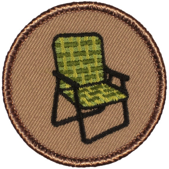 "Lawn Chair Applique Patch Camping Webbed Seat Badge 2/"" Iron on"