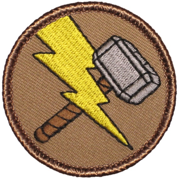 "Thor Hammer Relic Logo 2 1//2/"" Diameter Embroidered Iron on Patch"