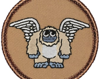 Flying Yeti Patch (609) 2 Inch Diameter Embroidered Patch