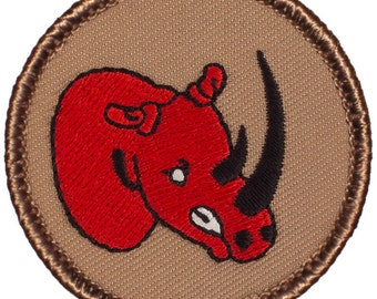 Red Rhino Patch (160) 2 Inch Diameter Embroidered Patch