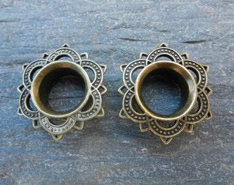 Ear plug tunnel Mandala women tribal Indian gold brass Gypsy festival hippie earth Lotus Flower