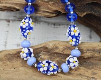 Blue Floral Lampwork, Sterling Silver & Swarovski Crystal Necklace
