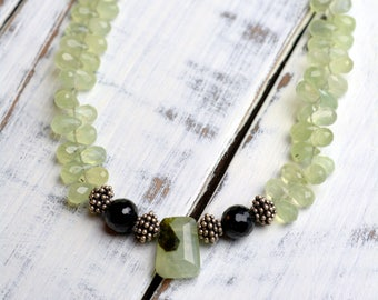 Faceted Prehnite Necklace with Black Onyx accents